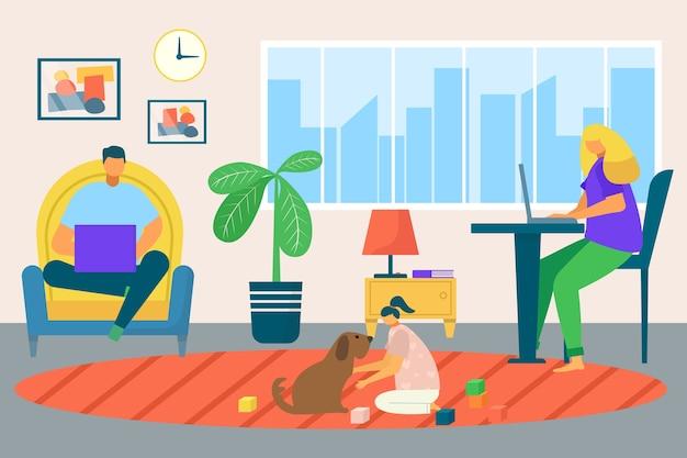 Illustrazione di casa di lavoro freelance