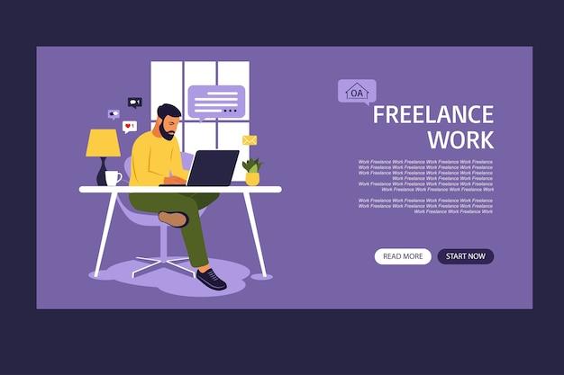 Modello di pagina di destinazione del lavoro freelance