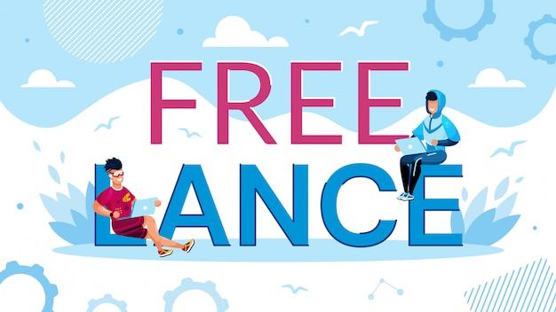 Poster di promozione del lavoro freelance con tiny man