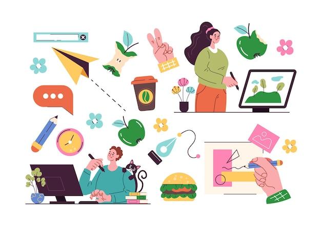 Lavoratori freelance con collezione di elementi di design isolata
