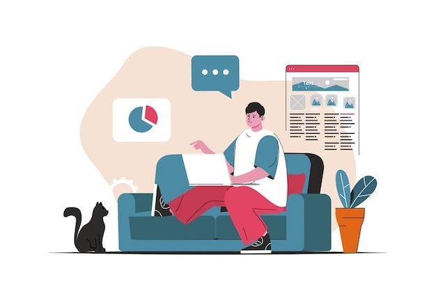 Concetto di lavoro freelance isolato. impiegato remoto nel progetto a casa. scena di persone nel design piatto del fumetto. illustrazione vettoriale per blog, sito web, app mobile, materiale promozionale.