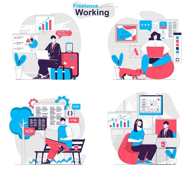 Set di concetti di lavoro freelance liberi professionisti e lavoratori remoti con laptop a casa