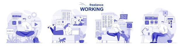Set isolato di lavoro freelance in design piatto le persone lavorano a distanza su laptop dall'ufficio di casa