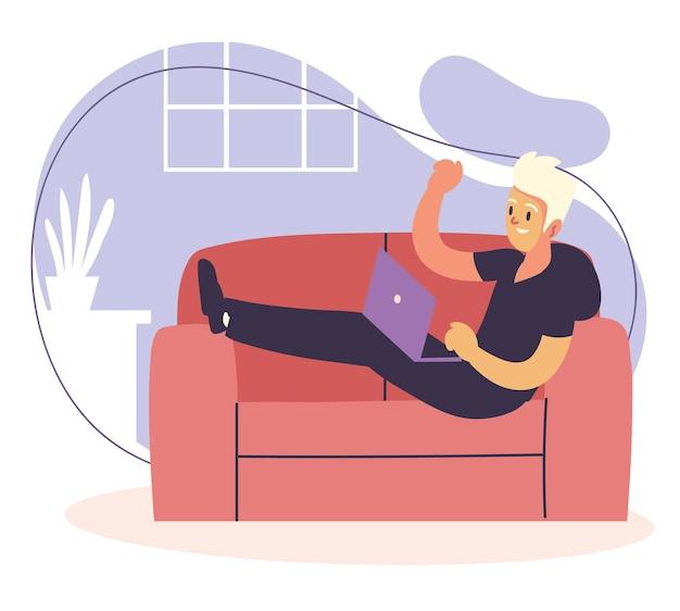 Libero professionista che lavora nel divano