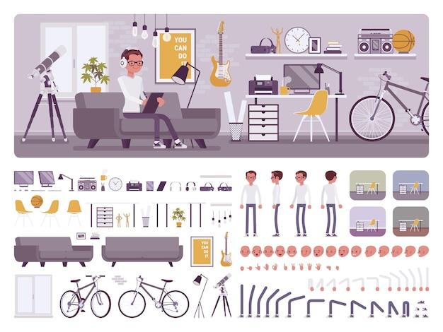 Interno della stanza del ragazzo libero professionista, kit per la creazione di home office, set di aree di lavoro Vettore Premium