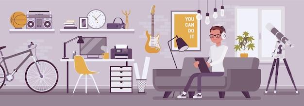Interno della stanza del ragazzo libero professionista, design moderno dell'ufficio domestico