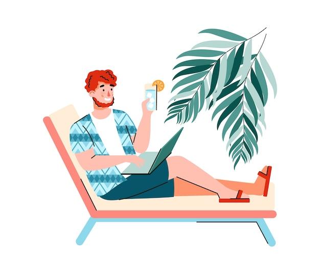 Personaggio dei cartoni animati maschio libero professionista che lavora al computer portatile sotto la palma, freelance e lavoro a distanza.