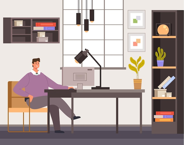 Carattere di lavoratore uomo libero professionista che lavora a casa nell'interiore della stanza confortevole. soggiorno a casa concetto piatto