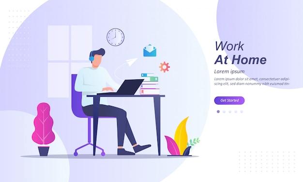 Libero professionista che lavora al computer a casa