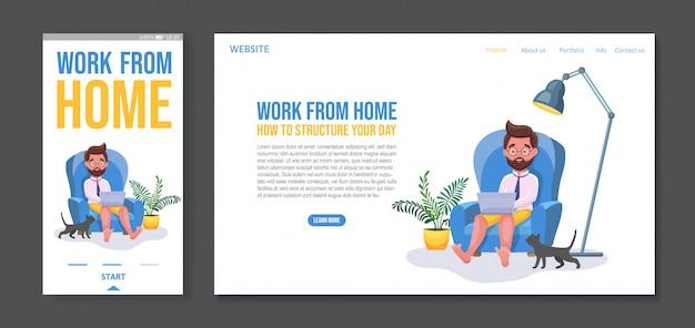 Libero professionista che lavora da casa e si collega online, modello di pagina di destinazione e design di app mobili.