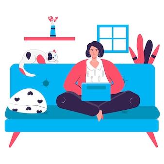 Libero professionista che lavora a casa concetto. donna seduta con laptop sul divano in camera. posto di lavoro freelance, lavoro a distanza sulla scena del personaggio del progetto. illustrazione vettoriale in design piatto con attività di persone