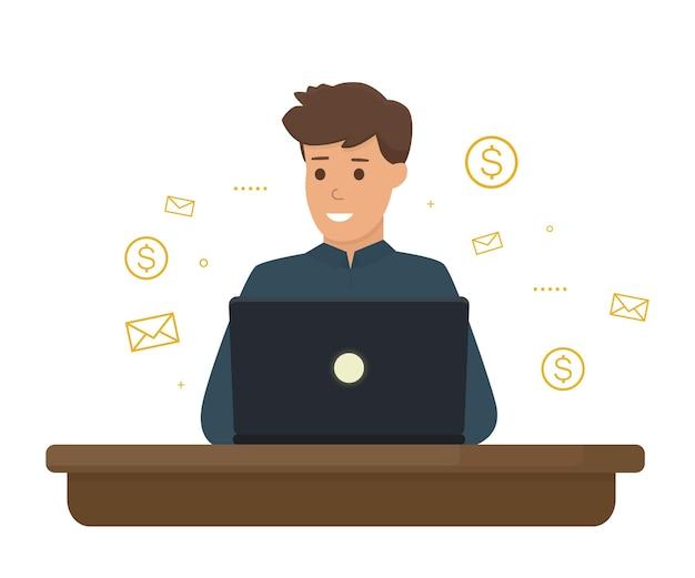 Giovane libero professionista che lavora alla sua illustrazione del computer portatile Vettore Premium