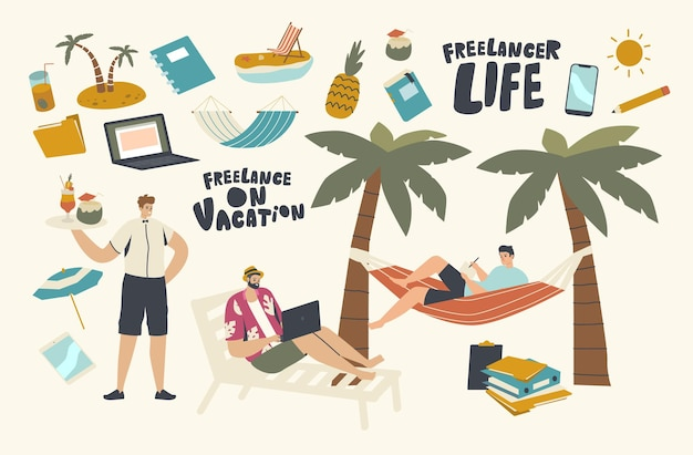 Personaggi maschili freelance indossano abiti estivi seduti su una sedia a sdraio e un'amaca sotto la palma sull'isola tropicale che lavorano al computer portatile e bevono cocktail in vacanza. illustrazione vettoriale di persone lineari