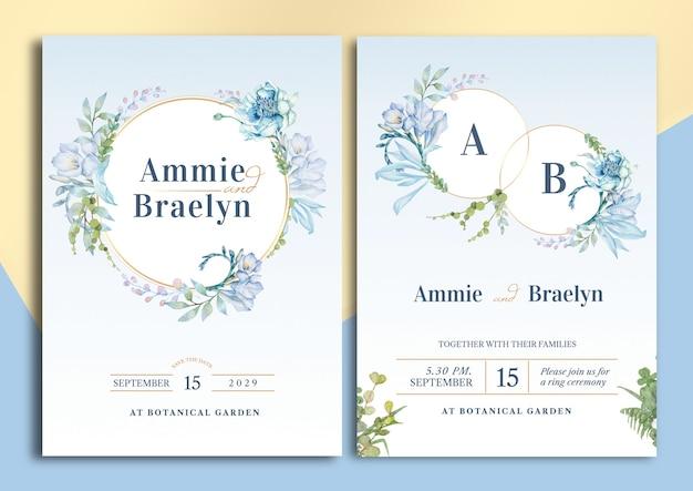 Carta di invito matrimonio floreale illustrazione dell'acquerello di fresia con layout di testo