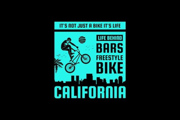 .bicicletta freestyle california, design silhouette stile retrò