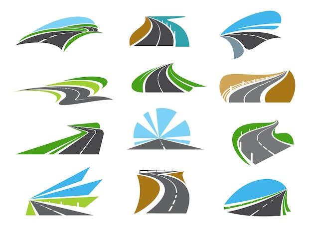 Superstrada, icone stradali autostradali con bordi stradali e guardrail. vialetto tortuoso, autostrada tortuosa o strada costiera ad alta velocità. emblemi del settore dei viaggi su strada, dei trasporti e della logistica