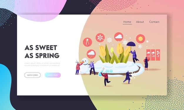 Modello di pagina di destinazione per la primavera gelida e il cambiamento climatico.