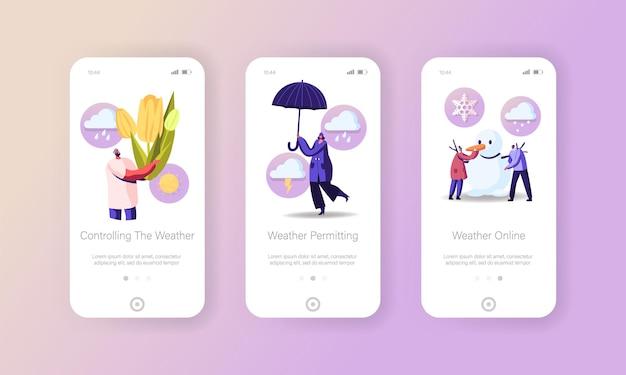 Modello di schermata della pagina dell'app mobile per la primavera e il cambiamento climatico