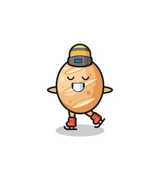 Cartone animato di pane francese come un giocatore di pattinaggio sul ghiaccio che si esibisce, design carino