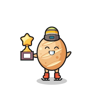Il fumetto del pane francese come un giocatore di pattinaggio sul ghiaccio tiene il trofeo del vincitore, design carino