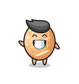 Personaggio dei cartoni animati di pane francese che fa il gesto della mano dell'onda, design carino Vettore Premium
