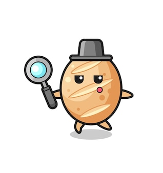 Personaggio dei cartoni animati di pane francese che cerca con una lente d'ingrandimento, design carino