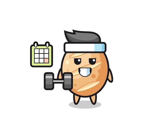 Fumetto della mascotte del pane francese che fa fitness con manubri, design carino