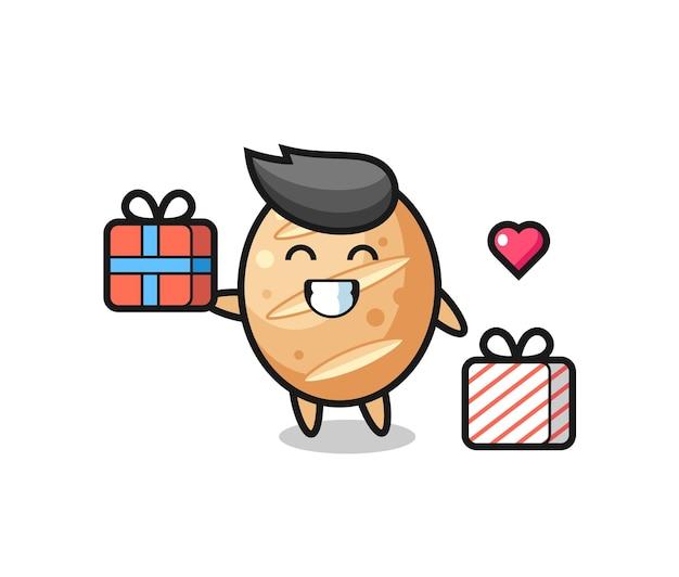 Fumetto della mascotte del pane francese che fa il regalo, design carino