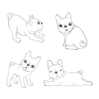Sfondo bulldog francese. cane, illustrazione, francese
