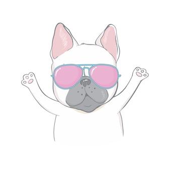 Bulldog francese faccia cane cuore occhiali illustrazione vettoriale cartoon