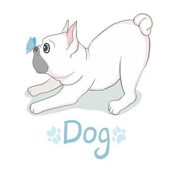 Testa del bulldog francese isolata. illustrazione vettoriale