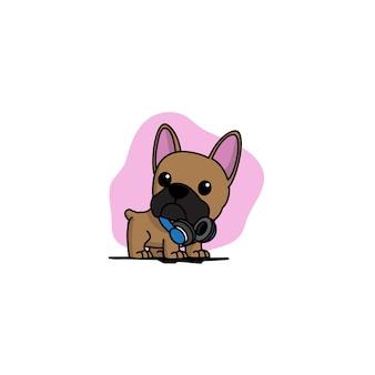 Cucciolo del bulldog francese con le cuffie blu sull'icona del collo