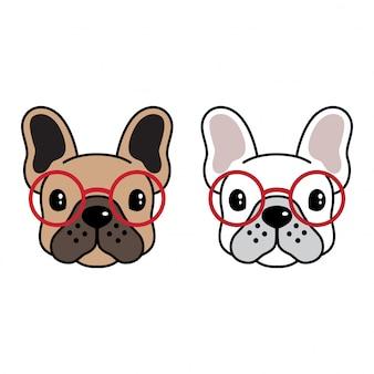 Cartone animato di occhiali da sole bulldog francese