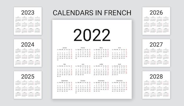 Calendario francese 2022, 2023, 2024, 2025, 2026, 2027, 2028 anni. illustrazione vettoriale. pianificatore di modelli.