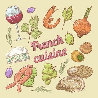 Doodle di cucina francese con vino e formaggio