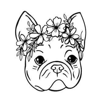 Il cane francese aveva un bulldog cane carino fuori linea cane con fiori