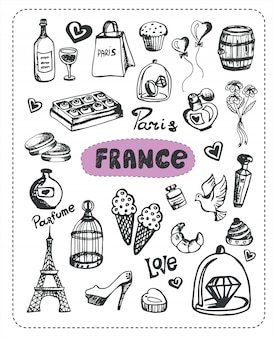 Insieme di doodle di elementi francesi
