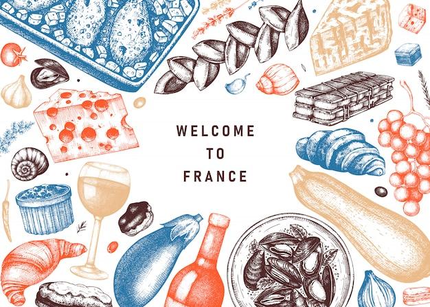 Cibo e bevande francesi a colori. piatti di carne in stile inciso, snack, dessert, schizzi di bevande. modello di illustrazioni di cibo di cucina francese. ristorante, consegna, menu vintage del negozio.