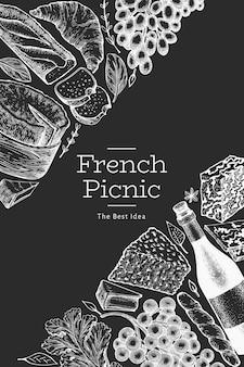 Modello di disegno di illustrazione di cibo francese. illustrazioni di pasto picnic di vettore disegnato a mano sulla lavagna. banner di snack e vino diversi in stile inciso. sfondo di cibo vintage.