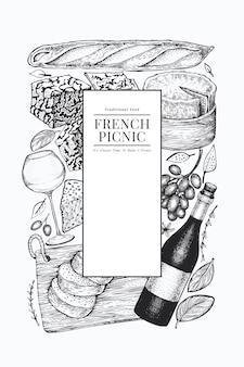 Modello di disegno di illustrazione di cibo francese.