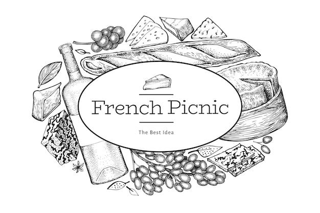 Modello di disegno di illustrazione di cibo francese