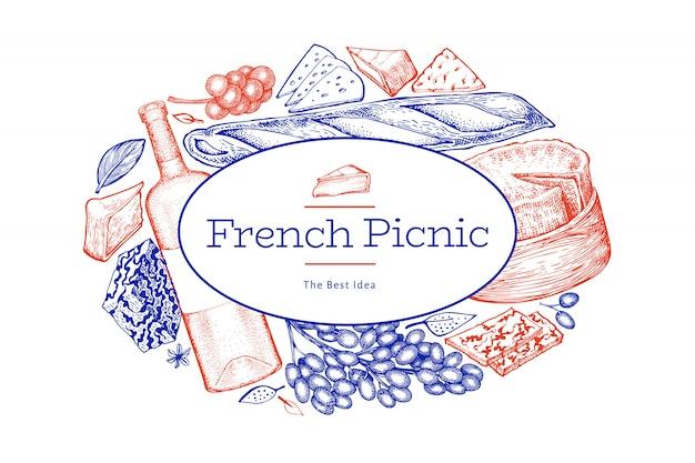 Progettazione dell'illustrazione dell'alimento francese