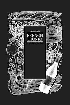 Disegno dell'illustrazione del cibo francese