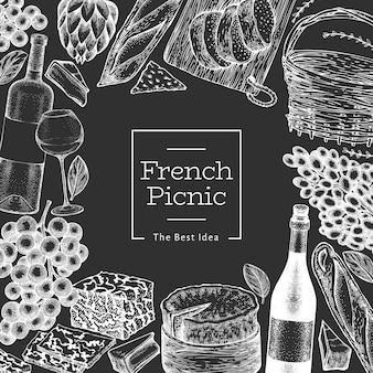 Modello di illustrazione di cibo francese. illustrazioni disegnate a mano del pasto di picnic sul bordo di gesso. banner di snack e vino diverso stile inciso. sfondo di cibo vintage.