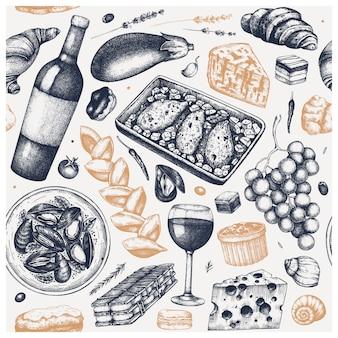 Sfondo vintage di cibo francese. schizzi di vino, snack, piatti di carne e dessert disegnati a mano. sfondo del menu ristorante in stile retrò