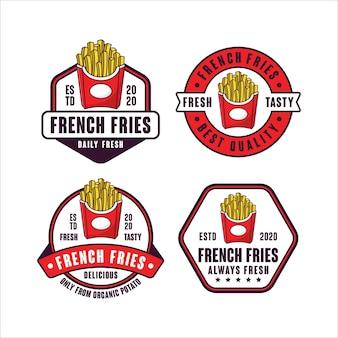 Collezione di logo design distintivo di patatine fritte