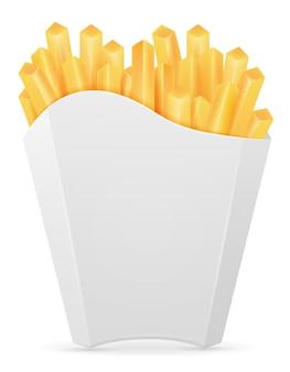 Patatine fritte in cartone su bianco