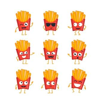 Personaggio dei cartoni animati di patatine fritte - set vettoriale moderno di illustrazioni di mascotte - ballare, sorridere, divertirsi. emoticon, emozioni, risatine, freddezza, sorpresa, sbattere le palpebre