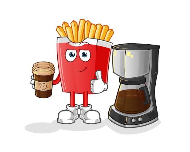 Patatine fritte che bevono carattere del caffè