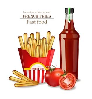 Patatine fritte e bottiglia di ketchup